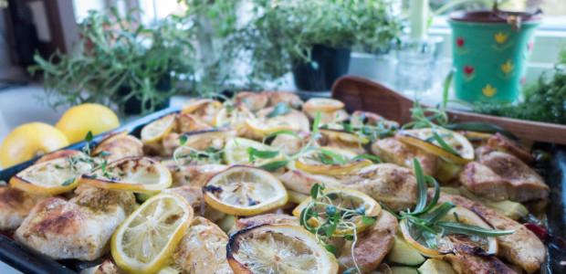 Kylling, sitron og rotgrønnsaker i langpanne